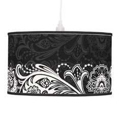 Lamp shades black and white floral photo - 3