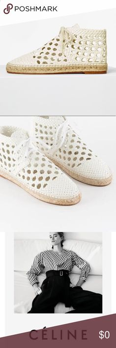 ✨Rare Celine Cream white woven espadrilles Brand new and 100% Authentic Celine cream espadrille. Real leather lace up shoes woven leather. Let me know if interested. Would fit a 7.5 or 8 perfectly. Brand new never worn Celine Shoes
