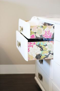 DIY wallpaper dresser makeover.