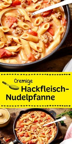 Leckere Penne in einer herrlich cremig-würzigen Sauce mit Hackfleisch und Tomat… Delicious penne in a deliciously creamy-spicy sauce with minced meat and tomatoes. Penne, Rigatoni, Grilling Recipes, Beef Recipes, Cooking Recipes, Healthy Recipes, Bariatric Recipes, Pasta Recipes, Soul Food
