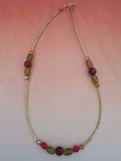 Autumn Deep Red Gold and Green Glass Bead by BeadazzlingButterfly, $19.00