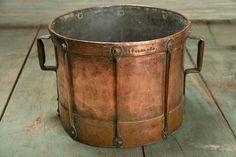 Antique French Copper Bucket Stamped French, Circa 1880