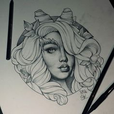 Fresh Neotraditional Sketch From Roza! #neotraditional #neotrad #sketch #portrait #pencil #paper #black #grey