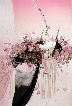 """「薔薇姫」""""Princess Rose"""" by Yoshitaka Amano http://en.wikipedia.org/wiki/Yoshitaka_Amano"""