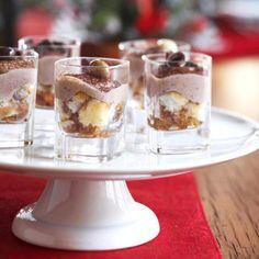 Cute for parties . . . tiramisu in shot glasses for just 74 calories per serving.