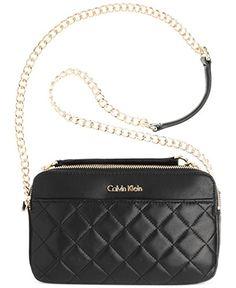 4cf532b2ffb Calvin Klein 1 FC Lamb Cross Body Bag, Black/White, One Size: Handbags:  Amazon.com