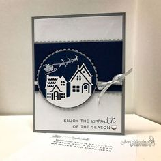 Stampin' Up - Hearts Come Home - Hometown Greetings Edgelits - Decorative Ribbon Border Punch - 2017 Holiday Catalog - by ivy Christmas Cards 2017, Christmas Hearts, Christmas Card Crafts, Stampin Up Christmas, Xmas Cards, Holiday Cards, Stampin Up Weihnachten, Stamping Up Cards, Get Well Cards