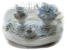 repurposed silver trays | Tray and Creamer, Sugar Pot Set Center Piece, a repurposed set to hold ...