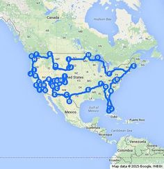 An optimal road trip of all the national parks in the continuous United States. Made by Travis Tamez for http://IsleBox.com!