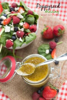 A delicious mustard poppyseed dressing, made easily in the food processor and beautifully paired with a summer-y spinach berry salad. Poppyseed Dressing and Spinach Berry Salad - Eazy Peazy Mealz