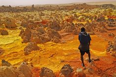Sulfur, salt, and other minerals color the crater of Dallol, a volcano in the hottest place on Earth, Ethiopia's Danakil Depression. At 157 feet (48 meters) below sea level, Dallol is also the world's lowest land volcano.