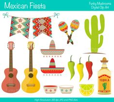 Digital Clipart  Mexican fiesta for Scrapbooking by funkymushrooms, €3.20