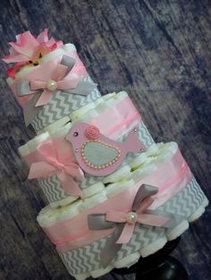 Feather my nest/ Little Birdie/ Pink and Gray/ Chevron Diaper cake/ Diaper cake for girls/ Baby girl by LittleOrchidStudio