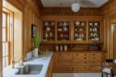 Quarter Sawn Rift White Oak American style kitchen cabinetry with sliding door uppers. At Home in Darien Luxury Kitchens, Home Kitchens, Painting Bathroom Cabinets, Victorian Kitchen, Vintage Kitchen, Kitchen Upgrades, Kitchen Ideas, Oak Kitchen Cabinets, Kitchen And Bath Design