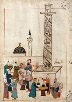 Venetians, Turks and others would have met in markets like this one in the Jerrahpasha district of Constantinople, across the Golden Horn from the Venetians' trading centers. The spiral column shown in this illustration from a 16th-century Ottoman manuscript was erected in about 405 by the Eastern Roman emperor Arcadius