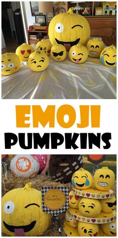 Love these emoji pumpkins for halloween! No-carve idea for the kids.