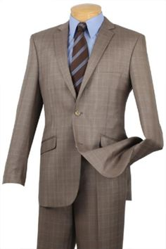 Get Discounts on ID Two Buttons Inexpensive ~ Cheap ~ Discounted Clearance Sale Online Reduced Price Tan ~ Beige Plaid ~ Windowpane Pattern Extra Slim Fit Prom Affordable Suit Dress Suits, Men Dress, Affordable Suits, Brown Sport Coat, Business Professional Women, Suit Combinations, Slim Fit Suits, Designer Suits For Men, Brown Suits