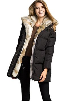 74d23e8fd043 Queenshiny New Style Women's Down Coat with Rabbit Fur Collar to Down with  Hood-Black