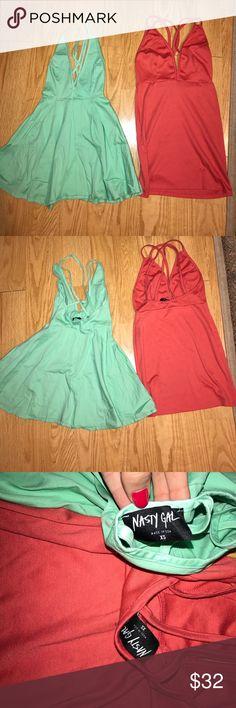 Nasty gal mini dresses lot! Super cheep XS Super sexy nasty gal mini dresses! Cross back in the back super sexy and  great colors Nasty Gal Dresses Mini