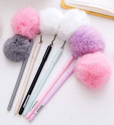 Purchase Black Ink Cute Girl Women Faux Fur Pom Pom Ball Pendant Gel Ink Pen Gift from Newpee on OpenSky. Cool School Supplies, Cute Stationary School Supplies, Japanese School Supplies, School Stationery, Korean Stationery, Stationery Pens, Kawaii Stationery, Cute Pens, Manualidades
