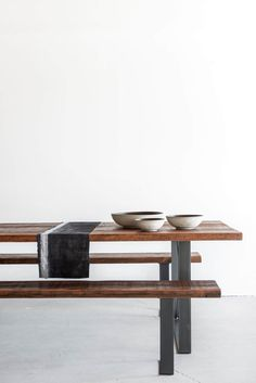 """84""""L + 36""""W + 30""""H RECLAIMED DOUGLAS FIR + INDUSTRIAL STEEL WAX FINISH //CUSTOMIZE THIS PIECE This Dining Table is Custom Made in Los Angeles. The reclaimed wood boards are cut to size and joined. The"""