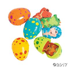Dino Finger Puppet Filled Easter Eggs - Party Supplies Canada - Open A Party Dinosaur Easter Egg, Plastic Easter Eggs, Preschool Dinosaur, Easter Toys, Girl Dinosaur, Dinosaur Party Supplies, Dinosaur Birthday Party, 3rd Birthday, Birthday Ideas