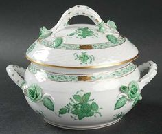 This classic Herend china soup tureen is just one of the many pieces in this lovely green and gold pattern