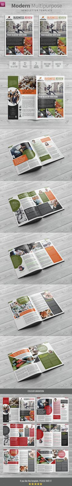 Modern Multipurpose Newsletter Template InDesign INDD. Download here: http://graphicriver.net/item/modern-multipurpose-newsletter/15334059?ref=ksioks