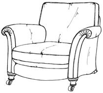 octavia handmade chair line drawing