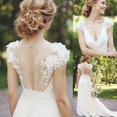 Printemps en mousseline De soie plage robes De mariée 2016 fleurs De dentelle col en V profond robe De Casamento Cap manches ivoire robes De mariée
