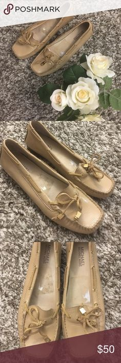 MIchaela Kors nude patent leather moccasin flats MIchael Kors nude patent leather moccasin flats in size 8. Leather upper, rubber sole. Worn but in excellent shape. Cute ties with gold detailing. MICHAEL Michael Kors Shoes Flats & Loafers