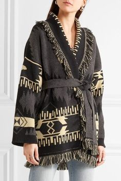 Alanui - Fringed Jacquard-knit Cashmere Cardigan - Gray - medium