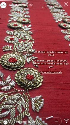 Zardosi Embroidery, Embroidery On Kurtis, Kurti Embroidery Design, Hand Embroidery Dress, Couture Embroidery, Indian Embroidery, Embroidery Fashion, Beaded Embroidery, Border Embroidery Designs