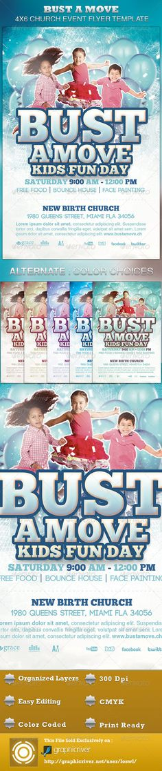 Buy Bust A Move Church Event Flyer Template by loswl on GraphicRiver. Bust A Move Church Event Flyer Template is great for any Church Event. Use it for Gospel Concerts, Pageants, Kids Ev. Event Flyer Templates, Flyer Design Templates, Print Templates, Psd Templates, Cool Birthday Cards, Birthday Gifts For Sister, Gospel Concert, Concert Flyer, Bust A Move