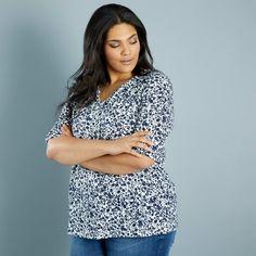 19496da02a T-shirt estampada em malha elástica KUBAZ Mulher tamanhos grandes - Kiabi  ...