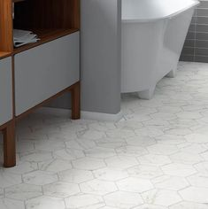 EliteTile Karra Carrara x Porcelain Field Tile in White/Gray Bathroom Floor Tiles, Shower Floor, Tile Floor, Tiles Online, Hexagon Tiles, White Tiles, Small Bathroom, Bathroom Ideas, Master Bathroom