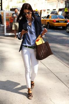 white jeans, blue button down, navy blazer