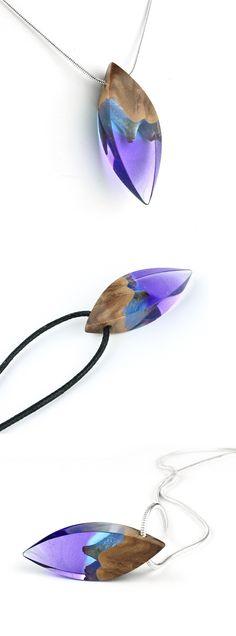 Small purple resin and wood pendant. Handmade jewelry by WoodAllGood. #WoodAllGood