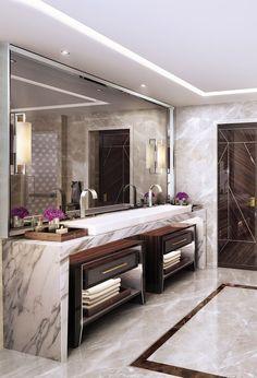 Best Luxury Bathroom Lighting Design - Home Design Bathroom Lighting Design, Bathroom Design Luxury, Large Bathroom Design, Elegant Bathroom Decor, Modern Luxury Bathroom, Minimalist Bathroom, Bath Design, Interior Design Minimalist, Home Interior Design