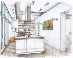Hand Rendering – Page 2 – Mick Ricereto Interior + Product Design Interior Design Renderings, Drawing Interior, Interior Rendering, Interior Sketch, Interior Architecture, Interior And Exterior, Architecture Sketches, Home Design, Diy Home Decor On A Budget