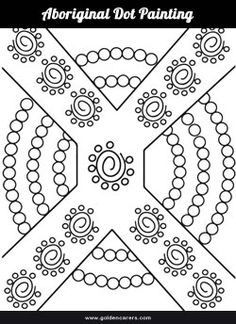 Aboriginal dot painting template for colouring.