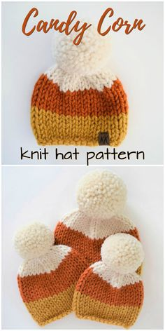 Such a sweet knit hat inspired by candy corn! An adorable hat in all sizes, perf… Such a sweet knit hat inspired by candy corn! An adorable hat in all sizes, perfect for fall! Check out this hat along with other fall hat finds! Vogue Knitting, Baby Hats Knitting, Knitting For Kids, Loom Knitting Projects, Yarn Projects, Knitting Tutorials, Knitting Ideas, Candy Corn, Fall Candy
