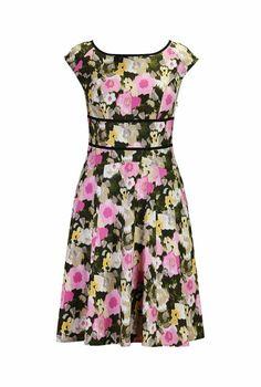 eShakti Women's Floral print empire waist dress XS-0 Regular Off-white/pink/green multi