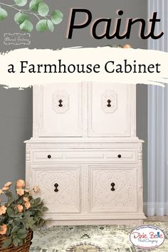 Give an antique cabinet a neutral farmhouse makeover using Chalk Mineral Paint! Perfect for a cozy bedroom or dining room, this vintage piece was refurbished in the colors Fluff and Cotton by Dixie Belle Paint!