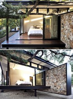 Westcliff Pavilion ~ Bedroom by GASS, located on the Westcliff Ridge in Johannesburg, South Africa. Modern Architecture House, Modern House Design, Architecture Design, Decoration Restaurant, Container House Design, Steel House, Dream House Exterior, Prefab Homes, House In The Woods