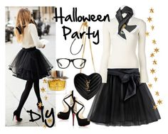 """""""witchcraft"""" by angie-324 ❤ liked on Polyvore featuring Christian Louboutin, Salvatore Ferragamo, Yves Saint Laurent, Moschino, Livingly, Burberry, halloweencostume and DIYHalloween"""