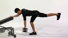 Exercise of the Day! Build strength in your upper back and biceps while challenging your hip stability with the Row - 1 Arm / 1 Leg Contralateral Dumbbell.