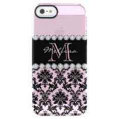 Baby Pink Cream black floral Damask Diamonds Clear iPhone SE/5/5s Case - monogram gifts unique design style monogrammed diy cyo customize