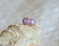 Tiny stud earrings with sterling silver posts by MyPieceOfWood
