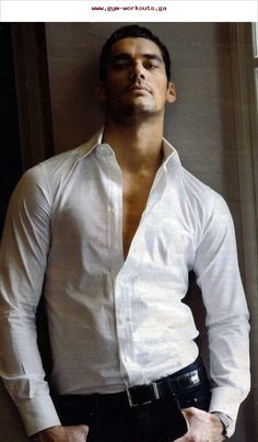 ♂ Masculine & elegance man's white fashion shirt male model David Gandy - nothing like a crisp white fitted shirt and dark jeans (contrasts works! David Gandy, Thank You Lord, Gorgeous Men, Beautiful People, Moda Formal, Camisa Formal, Karen Marie Moning, White Fashion, Supermodels